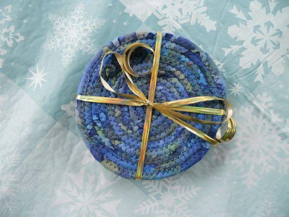 Fabric Coiled Coasters Purple Batik