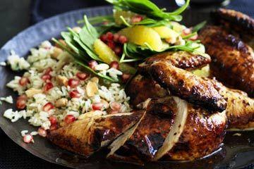 Pomegranate glazed chicken with herb pilaf
