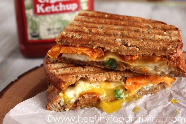 breakfast panini - eggs, sweet potato hash, cheese, and chopped green ...