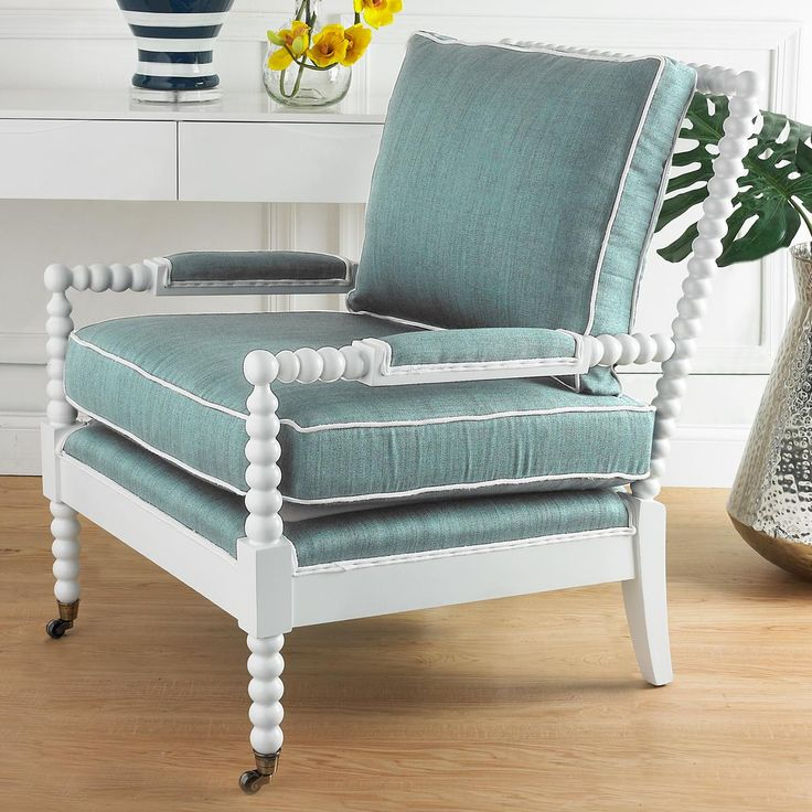 Wooden Spool Accent Chair Available in 8 Colors Beige and