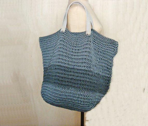 Crochet Bag Handles : PDF Crochet PATTERN Large Tote Bag with Leather Handles