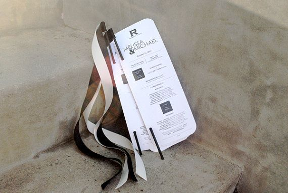 Modern chic wedding programs with ribbon wands by harmonycreative 50