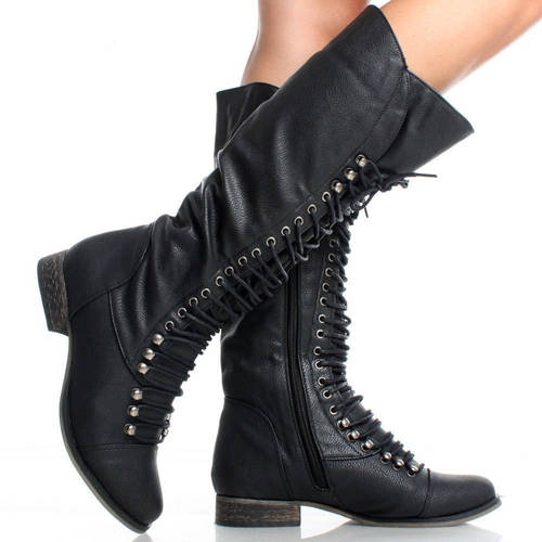 Awesome Home Shoes Womens Boots Sarah Women Leather Black Combat Boot