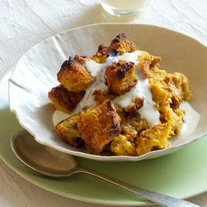 Pumpkin Bread Pudding with Vanilla-Rum Custard Sauce Recipe - Redbook