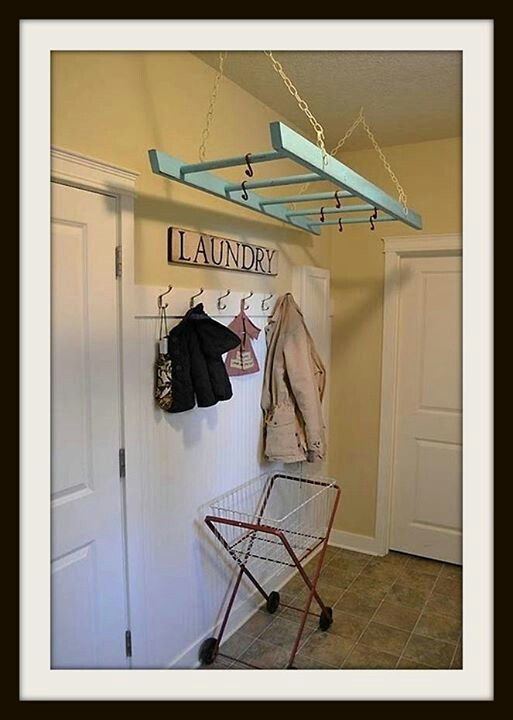 Laundry room hanging rack decorating the nest pinterest - Hanging rack for laundry room ...