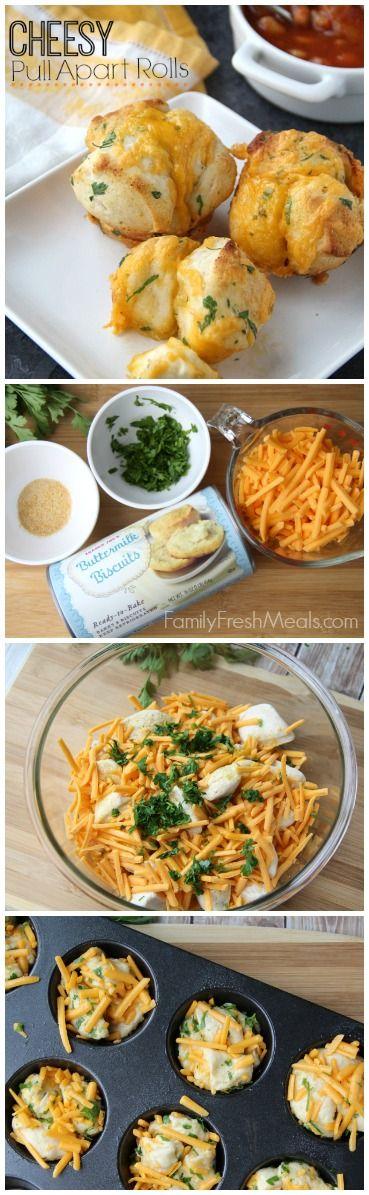 Easy Cheesy Pull Apart Rolls -  5 minute prep and truly amazing!  |  FamilyFreshMeals.com