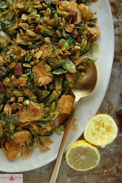 Shredded Brussels Sprouts with Chorizo and Paprika by Heather Christo