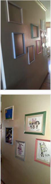 Simple idea for displaying kids' artwork with dollar store frames