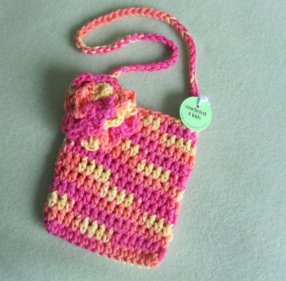 Crochet Purse For Little Girl : Little Girls Purse, Crochet Purse with Flower, Cotton Purse, Pink, O ...