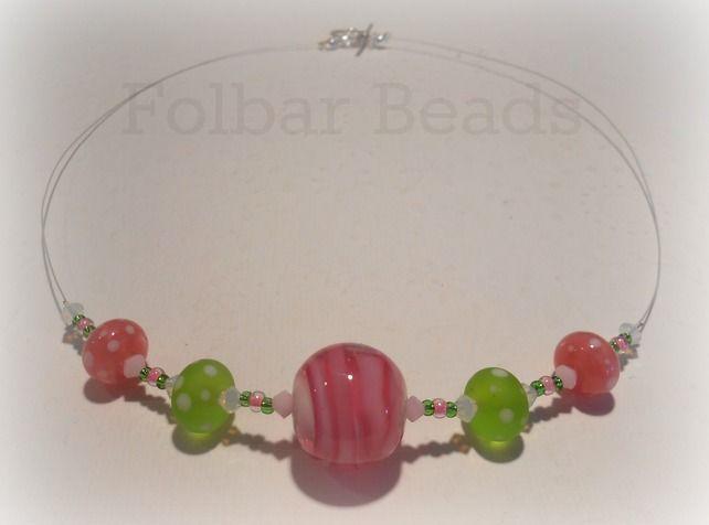 Raspberry and pistachio sundae necklace £14.00