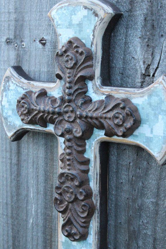 ACU Army Digital Camo Decor Wall Cross And Iron By BackRoadsFaith 38