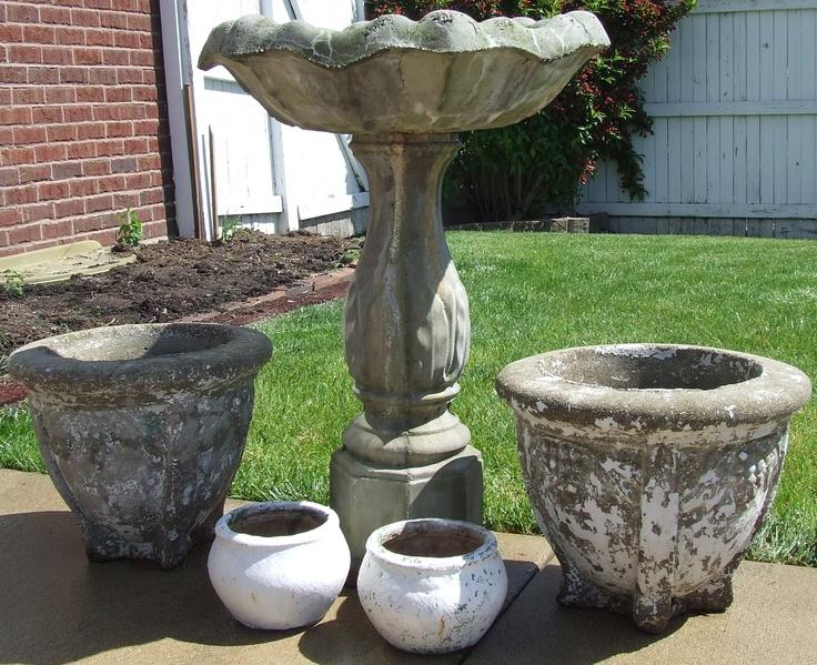 Concrete Planters Bird Bath Garden Pinterest