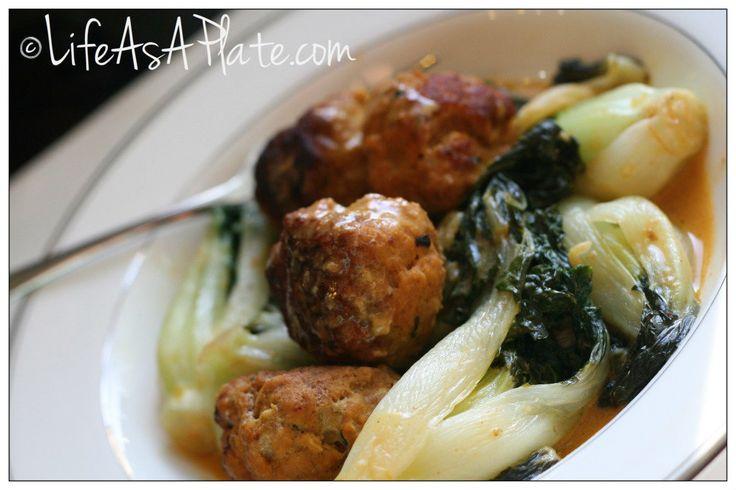Thai Turkey Meatballs with Coconut Curry Bok Choy
