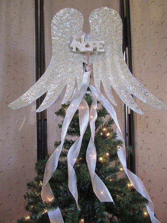 Angel wings christmas tree topper rustic christmas decoration for Angel christmas tree decoration