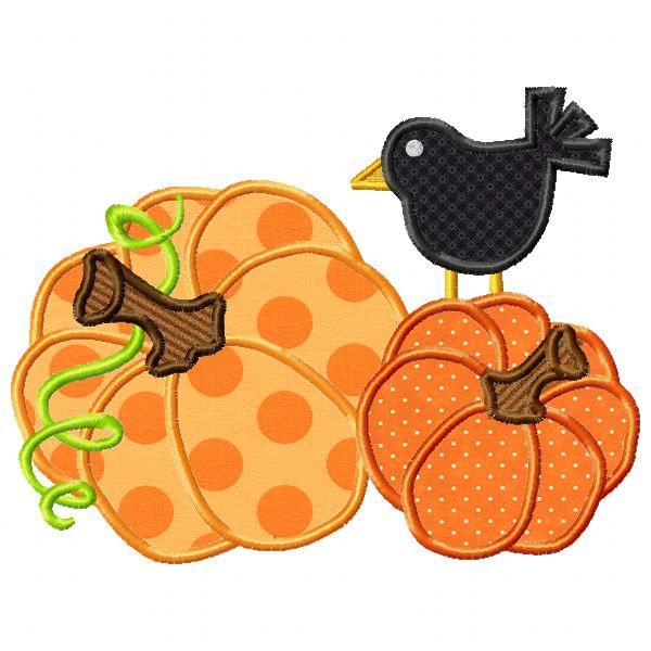 Pumpkins and crow applique bernina series pinterest