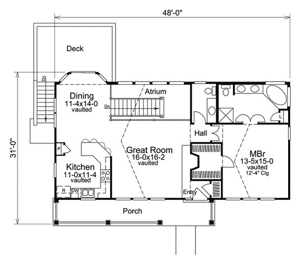 Economical atrium ranch home plan for House plans with atrium in center