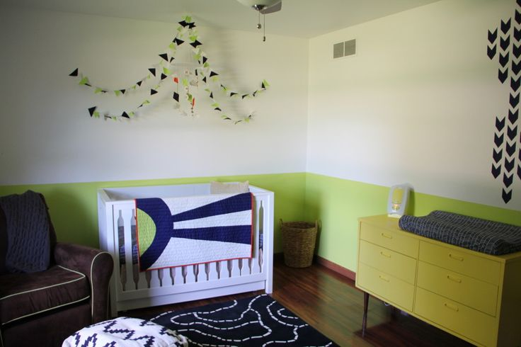 Orange, Citron and Navy Nursery - beautiful, bright, modern nursery!