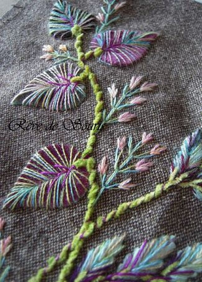 Beautiful variegated embroidered leaves embroidery