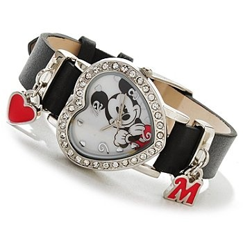 617-144 - Disney Women's Quartz Crystal Heart Shaped Strap Watch w/ Sliding Charms