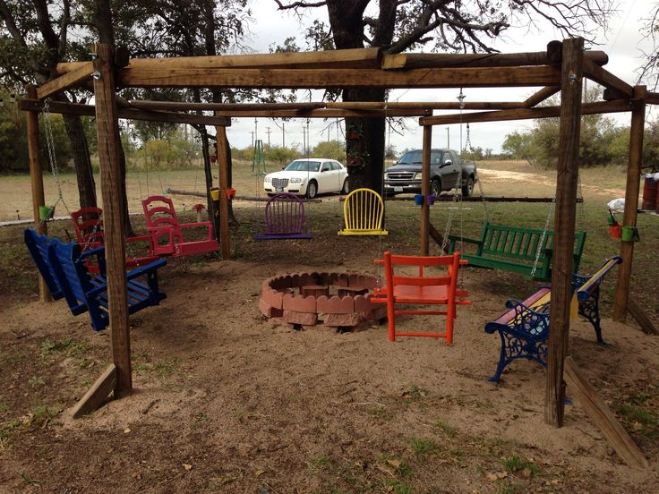 Our fire pit swing set including a baby swing for our sweet grand