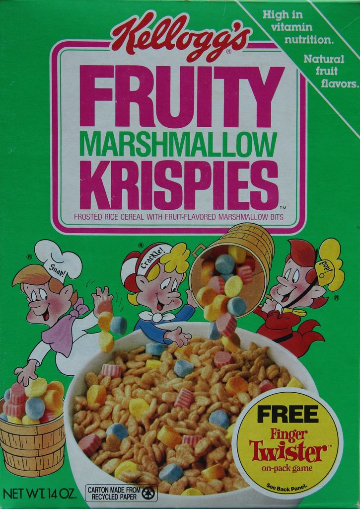 Kellogg's Fruity Marshmallow Krispies Cereal Box, 1991
