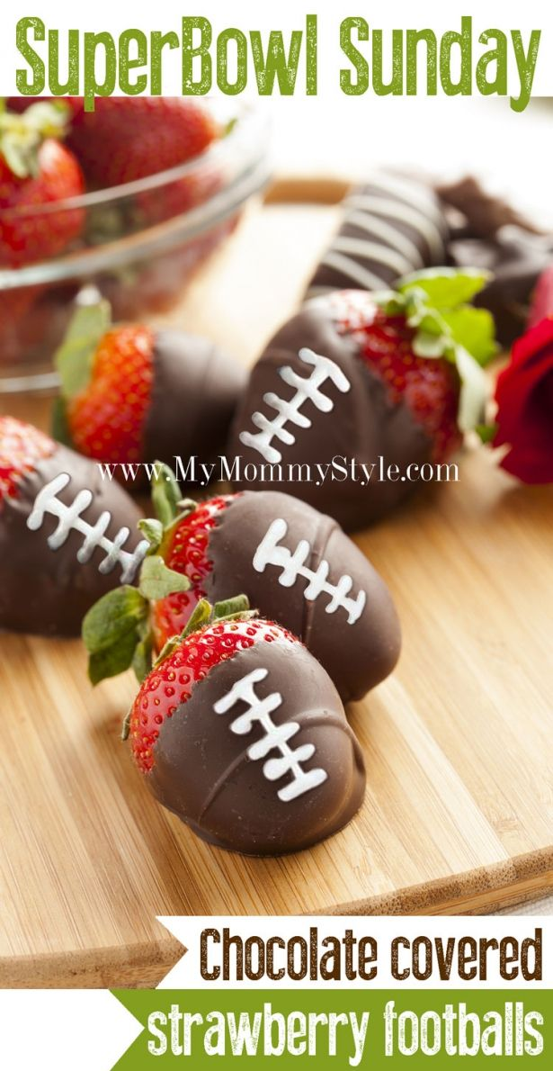 Chocolate covered strawberry footballs | The Big Game | Pinterest