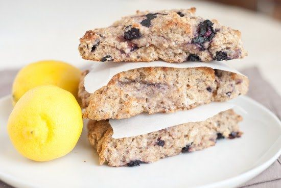 three stacked, healthy blueberry lemon scones