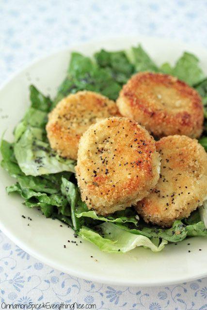 Fried Goat Cheese Salad with Lemon Poppy Dressing | Recipe