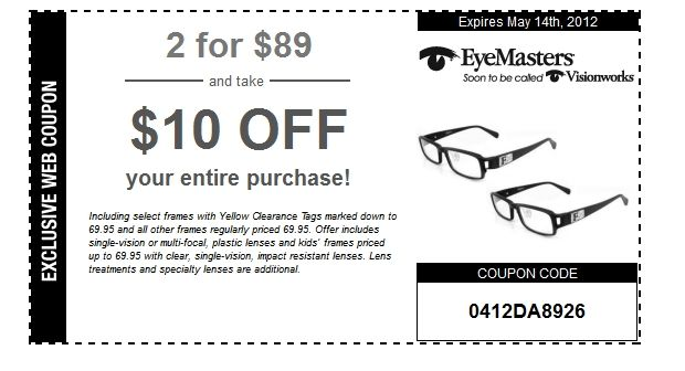 Visionworks coupons and deals