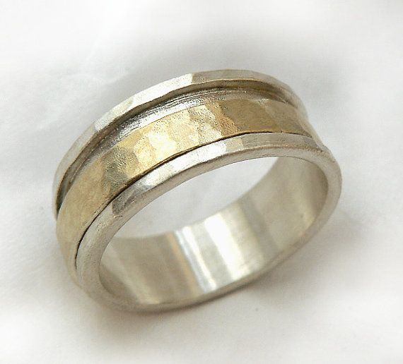 gold spinner s ring mens shiny wedding band hammered