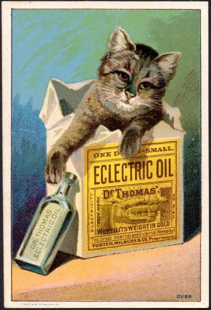 1800's Cure All Dr Thomas' Oil Cat Bottle Trade Card  (front)