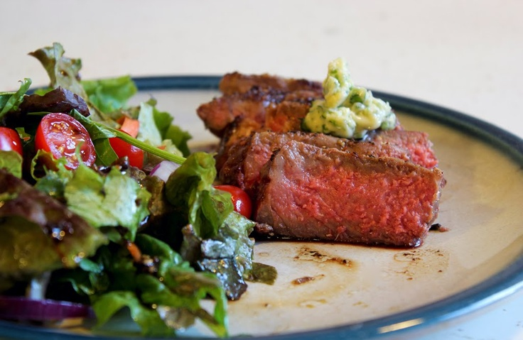 ny strip + garlic scape and dill compound butter