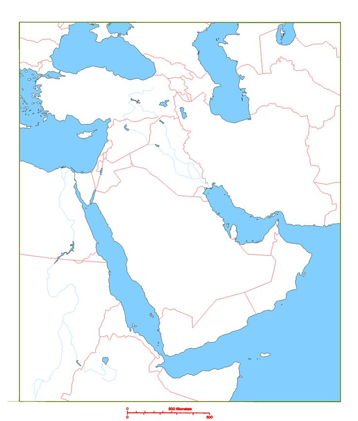 Blank Physical Map Of Middle East blank map of mi...