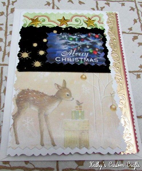 "Handmade ""Fawn and Bird"" Christmas Greeting Card"