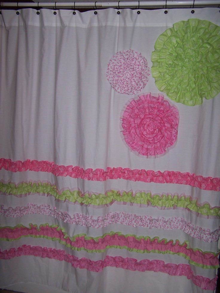 shower curtain custom made designer fabric ruffles and flowers pink. Black Bedroom Furniture Sets. Home Design Ideas