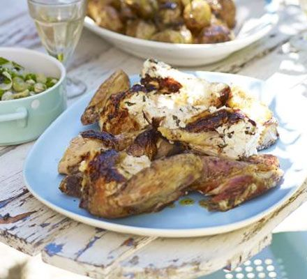 Spatchcocked chicken with soft cheese & basil | Recipe