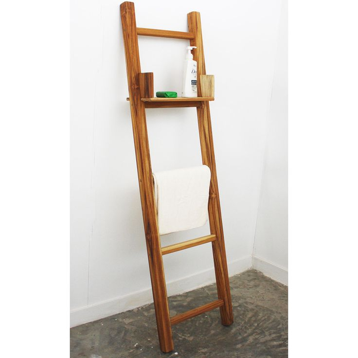 Teak adjustable shelf 64 inch towel ladder thailand for Bathroom ladder shelf