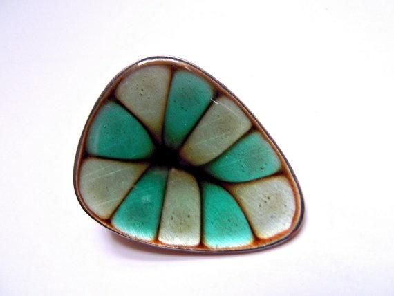 Vintage Hogan Bolas Green Enamel Brooch Pin by MTippingAtelier, $42.00