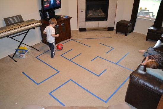 Maze with Painter's Tape - could keep 'em busy for hours ;)
