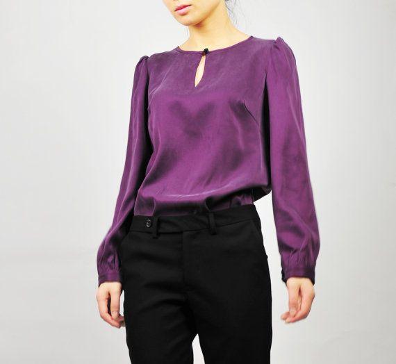 Purple Silk Blouse 100