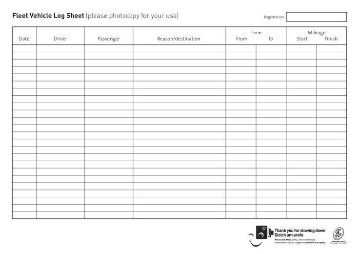 Daily Vehicle Log – Printable Editable Blank Calendar 2017
