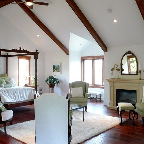 vaulted ceiling with a few beams | Montecito House | Pinterest