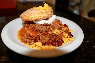 Beef Chili with Sour Cream and Cheddar Biscuits | stowedstuff.com