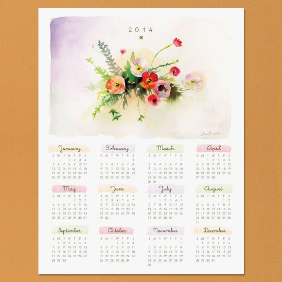 FREE printable Watercolor Calendar 2014