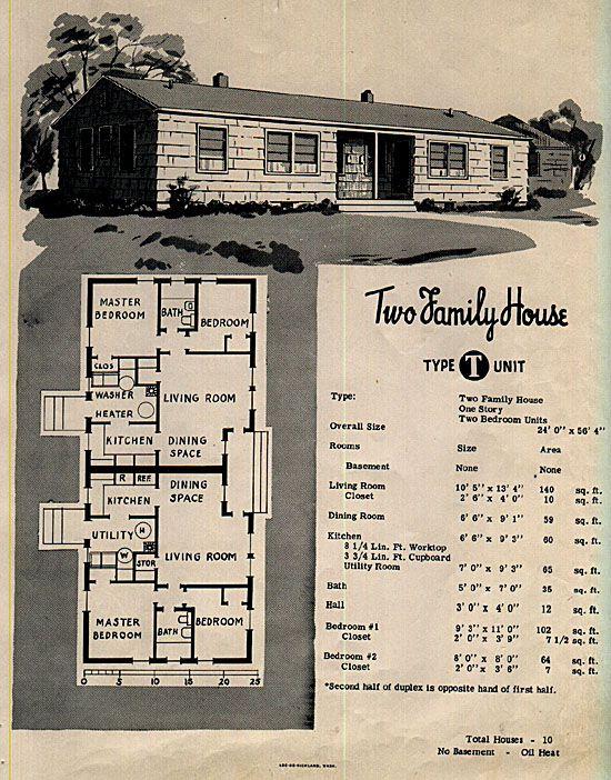 1948 duplex 1940s house pinterest for 1940s home plans