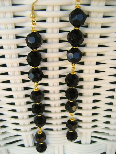 Earrings Handcrafted New Black Lucite Crystals Extra Extra Long Gold Tone Dangle
