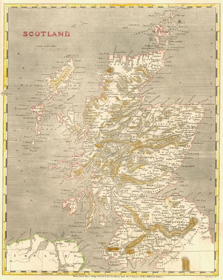Map Antique Scotland Hooker Sclup 1805 From Genl