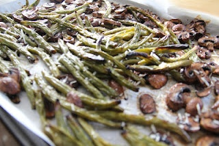 roasted green beans with mushrooms, balsamic and parmesean
