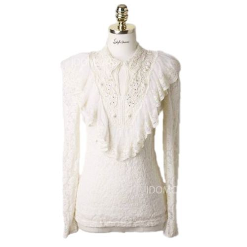 White Lace High Neck Blouse 117