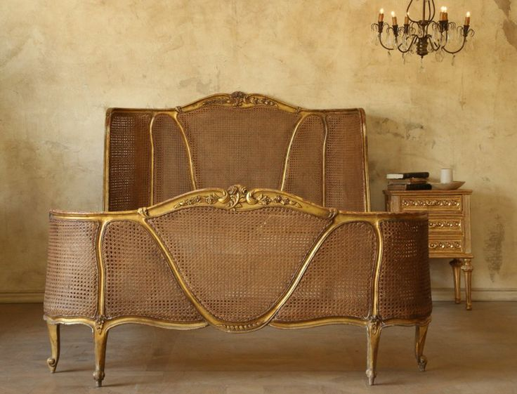 Vintage Louis Xv French Style Gilt Wood Cane Bed Antique Gold Rococo Romantic Furniture